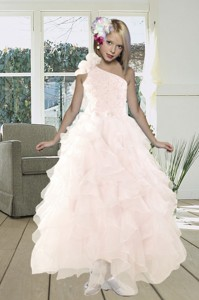 Gorgeous A Line One Shoulder Baby Pink Prom Dress With Beading And Ruffles