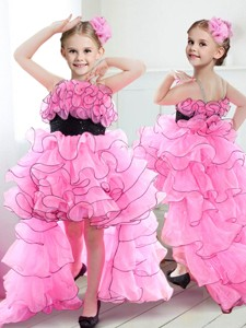 New Spaghetti Straps High Low Flower Girl Dress with Ruffles and Belt