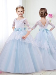 Affordable Scoop Half Sleeves Flower Girl Dress with Lace and Bowknot