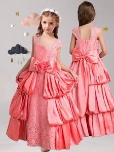 Sweet Straps Flower Girl Dress With Pick Ups