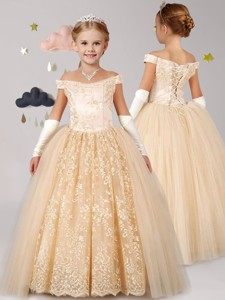 Classical Off the Shoulder Cap Sleeves Champagne Flower Girl Dress with Lace