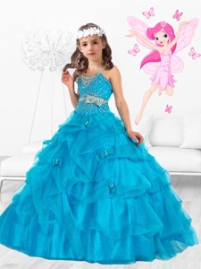 New Style Scoop Beaded And Bowknot Little Girl Pageant Dress