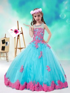 Cheap Scoop Multi Color Little Girl Pageant Dress With Appliques