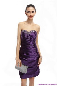 Sweetheart Mini Length Party Dress With Ruching And Beading