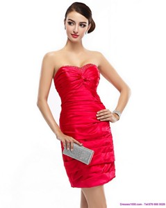 Red Strapless Party Dress With Ruching And Beading