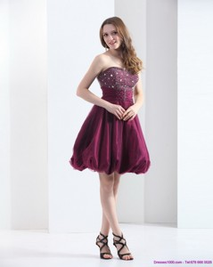 Perfect Wine Red Strapless Short Party Dress With Beading