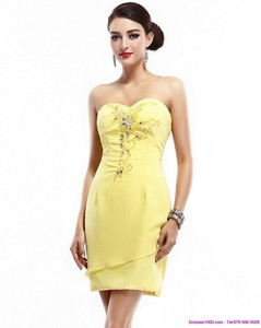 New Style Sweetheart Beading Yellow Party Dress