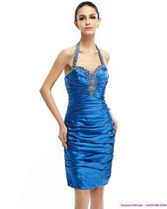 Discount Halter Top Beading And Ruching Party Dress