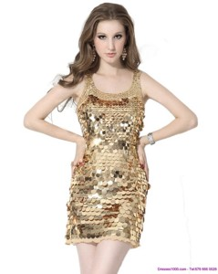Classical Scoop Mini Length Party Dress With Sequins