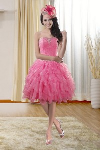 Pretty Sweetheart Party Dress With Ruffles And Beading