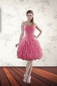 New Style Strapless Party Dress With Beading And Ruffles