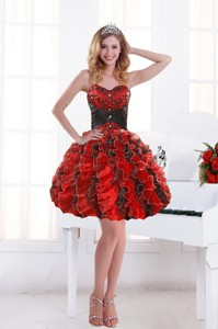 Unique Sweetheart Beading And Ruffles Party Dress With Appliques