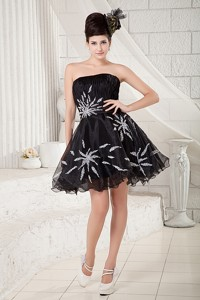 Cheap Black Strapless Cocktail Dress Organza Beading Mini-length