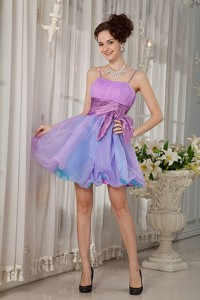 Colorful Pricess Straps Cocktail Dress Organza Beading And Ruch Mini-length