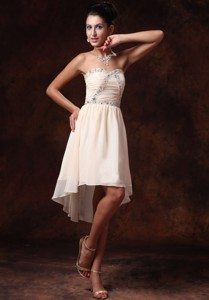 Champagne Empire Asymmetrical Sweetheart Chiffon Dress For Party For Custom Made