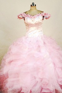 Beading Luxurious Ball gown Organza Off the shoulder neck Floor-length Pink Beading Little Girl Page
