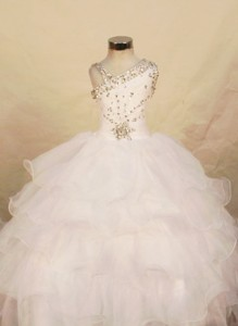 Beautiful White Ball Gown Organza One Shoulder Floor-length Beading Little Girl Pageant Dress