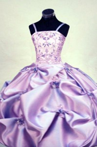 Gorgeous Straps Floor-length Beading Ball Gown Lilac Little Girl Pageant Dress