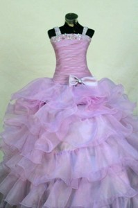Beading Romantic Organza Straps Ball Gown Floor-length Lavender Little Girl Pageant Dress