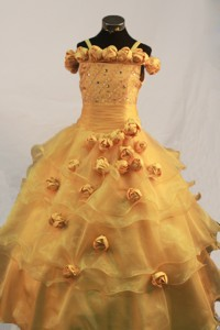Romantic Hand Made Flowers Ball Gown Little Girl Pageant Dress Straps Floor-length