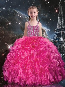 Hot Sale Straps Little Girl Pageant Dress With Beading And Ruffles