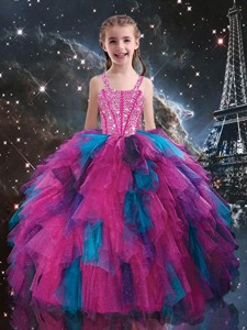 Petty Straps Beading Multi Color Little Girl Pageant Dress For Winter