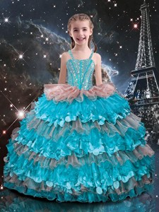 Best Straps Ruffled Layers Little Girl Pageant Dress