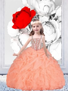 Pretty Straps Organza Little Girl Pageant Dress With Beading