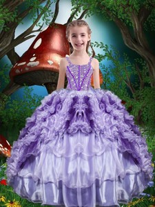 Luxurious Ball Gown Beading And Ruffles Little Girl Pageant Dress