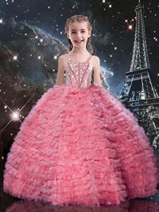 Beautiful Straps Little Girl Pageant Dress With Beading And Ruffles