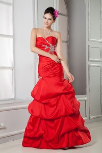 Sweet Red Mermaid Pageant Dress Sweetheart Beading Floor-length Taffeta