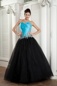 The Brand New Style Baby Blue And Black Sweetheart Pageant Dress Tulle Appliques Floor-length