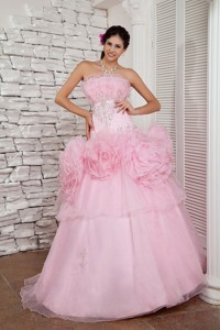 Simple Baby Pink Pageant Dress Strapless Organza Beading Floor-length