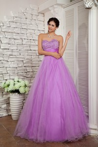 Lavender Pageant Dress Sweetheart Organza Beading Floor-length