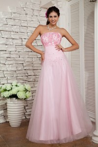 Beautiful Baby Pink Strapless Pageant Dress Tulle Beading Floor-length