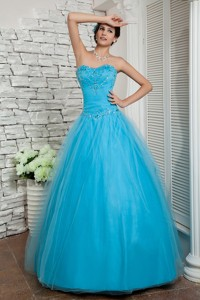 Discount Aqua Blue Pageant Dress Sweetheart Beading Floor-length Tulle