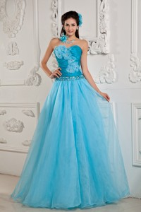 Teal Popular Pageant Dress Princess Sweetheart Chiffon Beading Floor-length