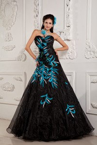 Pretty Black Princess Pageant Dress Sweetheart Beading And Appliques Floor-length Chiffon