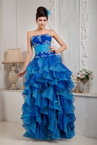 Exclusive Blue Empire Pageant Dress Strapless Organza Appliques Floor-length