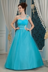 Elegant Sky Blue Pageant Dress One Shoulder Tulle And Taffeta Appliques Floor-length