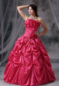 Panora Iowa Hand Made Flowers and Pick-ups Decorate Bodice Ruch Ball Gown Floor-length Coral Red Str
