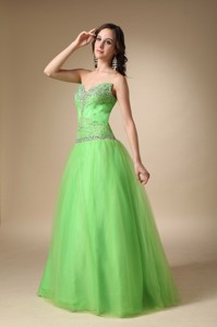 Spring Green Sweetheart Floor-length Taffeta And Tulle Beading Pageant Dress