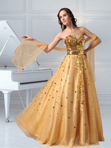 A Line Sweetheart Sequins And Tulle Pageant Dress In Gold
