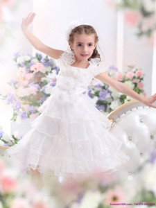 Gorgeous Ruffled Layers White Girl Pageant Dress With Hand Made Flower