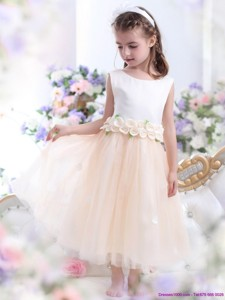White Flower Girl Dress With Waistband