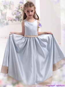 Silver Scoop Comfortable Flower Girl Dress With Waistband