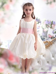 Perfect White Scoop Flower Girl Dress With Light Pink Sash