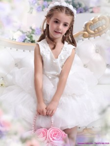Beautifil White Appliques Scoop Flower Girl Dress