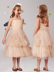 Wonderful Straps Champagne Flower Girl Dress with Appliques and Ruffled Layers