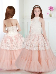 Lovely Halter Top Flower Girl Dress with Beading and Lace